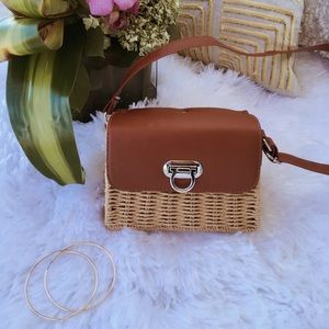 💐LAST💐FAUX LEATHER STRAW BOX SHOULDER BAG